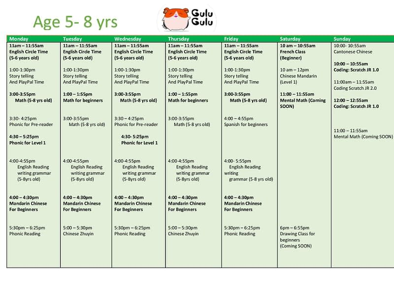age 5 to 8 class schedule
