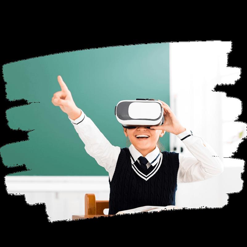 kid enjoying the virtual